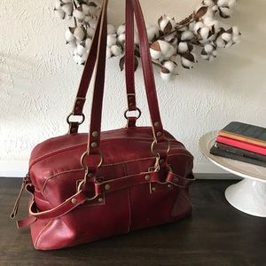 Red Leather Hobo Bag